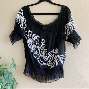 Cachè Silk Sheer Embroidered Off the Shoulder Top
